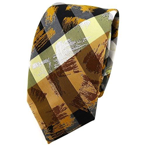 TigerTie - Cravate - À Rayures - Homme jaune orange blanc gris olive noir