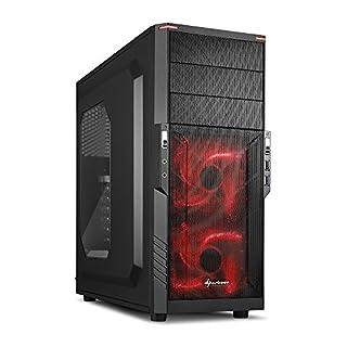 Sharkoon T3-W PC-Gehäuse (Schnellverschlüsse, 2x 120-mm-LED-Lüfter vorinstalliert, USB 3.0) rot