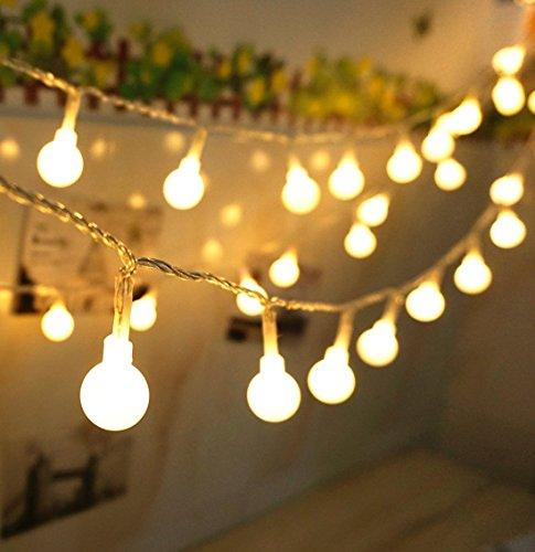 EleganBello Guirnalda Luces 50 LED 5M Blanco Cálido Bombillas Funcione con Pilas Decoración de Navidad, Patio, Boda, Dormitorio, Fiesta de Cumpleaños,Reunión entre Familiares y Amigos
