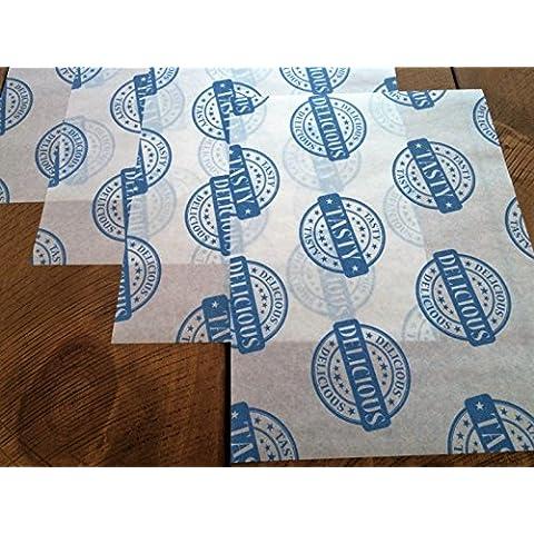 Deliziosi e saporiti stampato oleata carta pergamena fogli Burger cibo Wrap Deli antiscivolo–blu su bianco, 500 Sheets