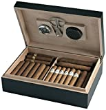 Egoist Premium - Zigarren Humidor Box aus Holz mit Hygrometer und Befeuchtungssystem für ca. 25 Zigarren I Zigarren-Zubehör - Schwarz