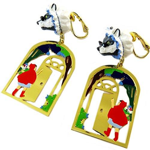 Pendientes clips caseros 'Monde Merveilleux'(caperucita roja)de oro multicolor - 47x20 mm.