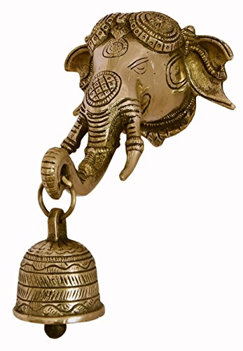 Nexplora Industries Large Brass Elephant Head Wall Hanging With Bell In Glossy Black Antique Finish