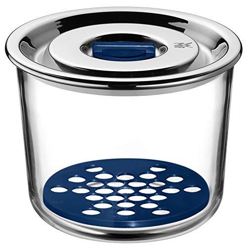 Glas Edelstahl Top (WMF Top Serve Frischhaltedose, rund Ø 13 x 9,5 cm, Schale mit Abtropfgitter, luftdichtem Deckel, Frische-Ventil, Box zum Vorbereiten, Aufbewahren und Servieren)