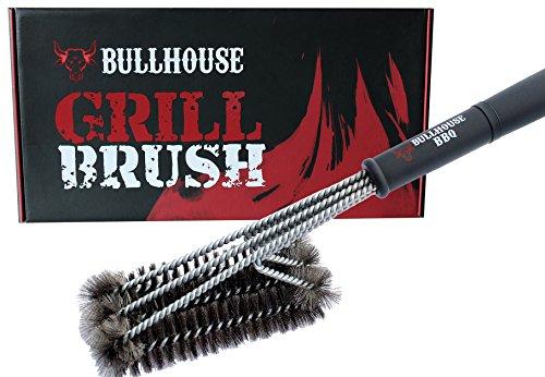 Bullhouse BBQ Grillbürste 3 in 1 | 100% Edelstahl | 45 cm Profi-Grillbürste | Für alle Grills & Oberflächen