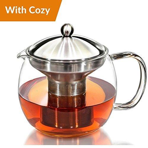 Willow & Everett Teekanne Wasserkocher mit wärmer - Teekanne und Teesieb Set - Tee Infuser hält 3-4 Tassen (Gusseisen Teekanne Set Mit 4 Tassen)