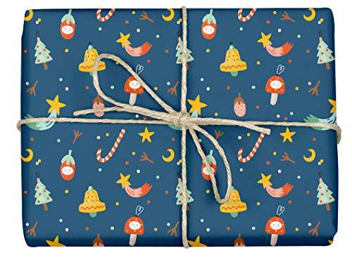 3x umweltfreundliches Öko-Geschenkpapier: Weihnachten für Kinder (lustiger Christbaumschmuck mit witzigem Gesicht, blau) | Einzelbögen, 50 x 70 cm, dabelino