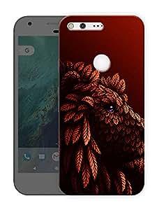 "Humor Gang Lion Red Printed Designer Mobile Back Cover For ""Google Pixel XL"" (3D, Matte Finish, Premium Quality, Protective Snap On Slim Hard Phone Case, Multi Color)"
