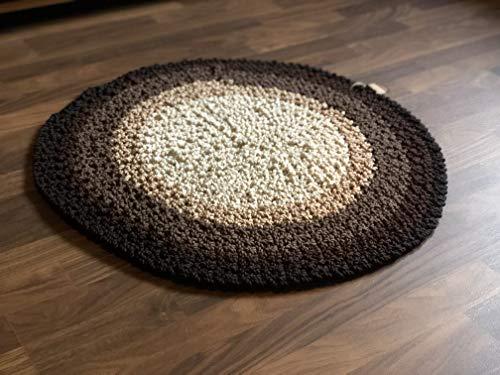 Maison Zoe Alfombra Redonda Crochet Tres Tonos ø85cm