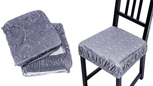 Takestop set 6 coprisedia cuscini grigio chiaro con fascia elastico cuscino per sedie imbottito sfoderabile trama casuale