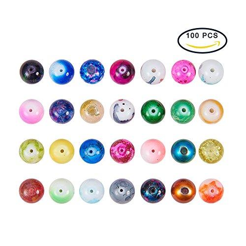 Pandahall 100 Stück Runde Spray Lackiertes Glas Europäische Perlen Große Lochperlen Gemischte - Halloween Glas Charms