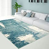 Teppich Flachflor in Pastell-Blau, Modernes Design mit Vintage-Optik/ Meliert für Wohnzimmer, Größe: 80 x 300 cm