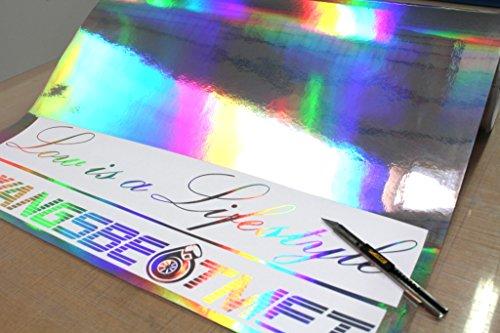 Finest-Folia GmbH (EUR 29,49/m²) 1x Rolle Hologramm Chrom Plotterfolie Silver Oilslick Auto Folie Digitaldruck Etc. -