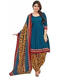 Miraan Women's Cotton Dress Material Dress Material (Sg1019_Blue_Free Size)