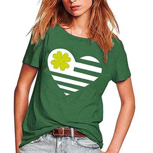 T Shirt Frauen Casual Girls Plus Größe St. Patrick Print Tees Shirt Kurzarm T Shirt Bluse Tops (Sexy St Patricks Tag Shirts)