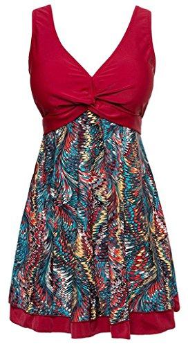 NEWZCERS Neue Damen floralen V-Ausschnitt plus Größe einteilige gefütterte Tankini-Set mit Boy Shorts Sommer Badeanzug Rot
