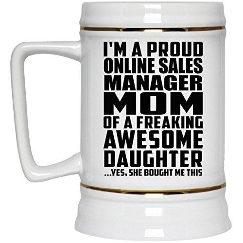 Proud Online Sales Manager Mom Of Awesome Daughter - Beer Stein Bierkrug Keramik Bierhumpen Bar Becher Kneipenkrug - Geschenk zum Geburtstag Jahrestag Muttertag Vatertag Ostern Sale Vintage Milk Glass