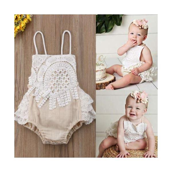 Carolilly Mono Bebé Niña Vestido Tirantes Verano sin Manga Recién Nacido Body de Algodón con Encaje (0 a 24 Meses) 3