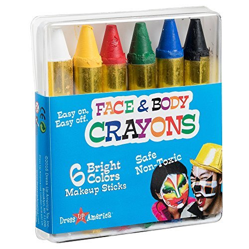 Face Paint 6 Color Crayon - Color Face Paint Ultimate Party Pack by Dress Up America