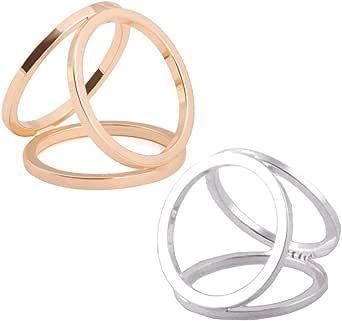 2 pezzi (oro + argento) donne signore ragazze tre anelli moda sciarpa anello fibbia moderna semplice tripla diapositiva gioielli sciarpa clip clip abbigliamento Wrap Holder