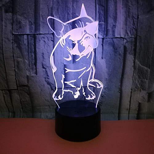 3D Nachtlicht Französische Bulldogge Mit Sonnenbrille 3D Led Nachtlicht Frenchie Dog Dekorative Beleuchtung Farbwechsel Acryl Lampe Geschenk Für Hundeliebhaber