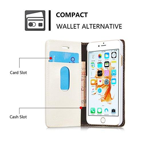 Apple iPhone 6/iPhone 6S Hülle - Kartenfächer, Brieftasche Combo Stützung Magnetische Adsorption Glätten Schutzhülle für Apple iPhone 6/iPhone 6S - Braun Weiß