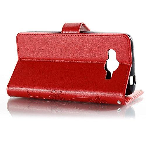 EKINHUI Case Cover Normallack Faux Leder Bookstyle Brieftasche Stand Case mit geprägten Blumen & Lanyard & Card Slots für Samsung Galaxy J2 Prime ( Color : Gray ) Red