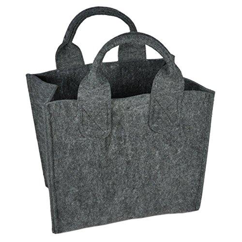 Feutre bois/Sac de Rangement, gris foncé, 31 x 32 x 18 cm