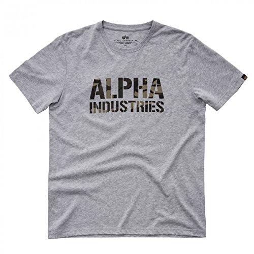 Alpha Industries Herren Oberteile/T-Shirt Camo Print grey heather/woodland camo