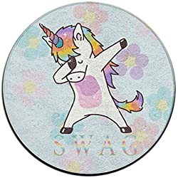 Unicornio de dabbing Swag antideslizante alfombrillas Circular alfombra alfombrillas comedor dormitorio alfombra Felpudo 23.6pulgadas