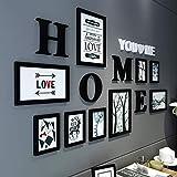 [LOVES] pcs Schwarz Bilderrahmen Set Massivholz 9 Box Kombination Wohnzimmer Bilderrahmen Wand Kreative Restaurant Hintergrund Wand Dekoration Einfache und Entworfen Stil 163 * 86 cm ( Farbe : A )