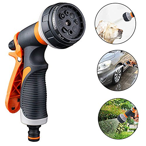 Garden Spray Gun, Spray Nozzle Gun, Multi Spray Watering Gun, 8 Adjustable Patterns Garden Hose Spray Gun, Easy Flow Control Setting, Anti-Slip Design, High Pressure Spray Nozzle for Lawn and Garden