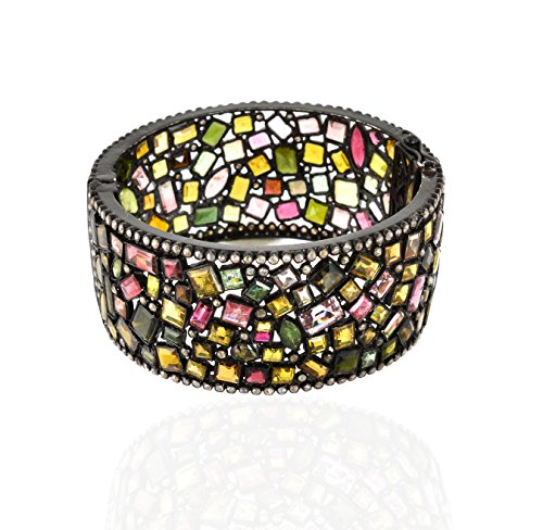 Be You elegante tormalina multicolore con diamante taglio rosa reali gemme rodio nero ha placcato il braccialetto in argento sterling per le donne - Rosa Ha Placcato Argento