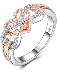 Heart Jewelry Rings Fashion Crystal Engagement Ring Wedding Ring For Women - Size 7 (Rose Gold And Silver)