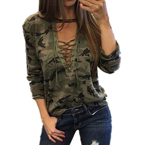 Bekleidung Longra Damen Mode Frauen Langarm Shirt schlanken lässige Bluse Camouflage Print Tops (M)
