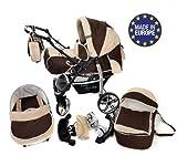Sportive X2 - 3 in 1 Reisesystem einschließlich Kinderwagen mit schwenkbaren Rädern, Kinderautositz, Buggy und Zubehör (3 in 1 Reisesystem, Braun, Beige)