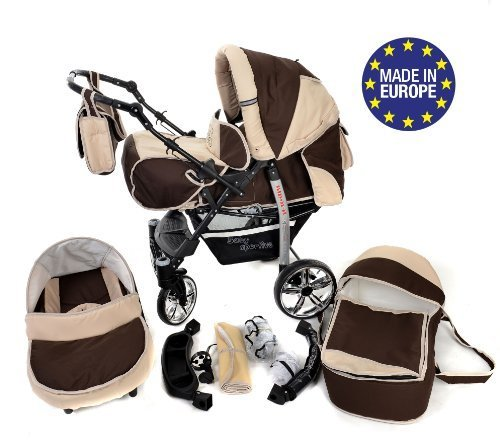 3-in-1 Travel System incl. Baby Pram with Swivel Wheels, Car Seat, Pushchair & Accessories, Brown & Beige 51gQbhLECwL