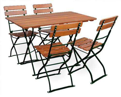 Biergartengarnitur 1x Tisch 120x70 cm & 4x Stuhl EuroLiving Edition-Classic ocker/grün