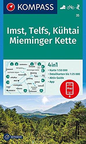 Imst, Telfs, Kühtai, Mieminger Kette: 4in1 Wanderkarte 1:50000 mit Aktiv Guide und Detailkarten inklusive Karte zur offline Verwendung in der Skitouren. (KOMPASS-Wanderkarten, Band 35)