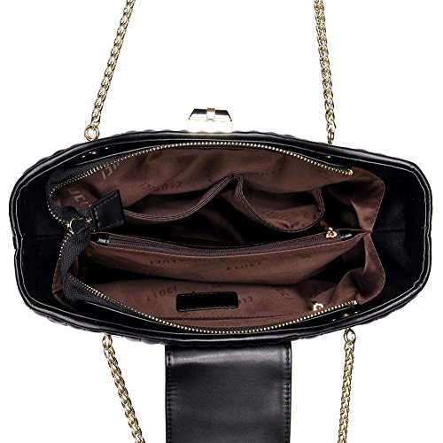 CLUCI Frauen/Damen Ledertasche Handtasche Umhängetasche Schultertasche Elegant Schwarz Schwarz