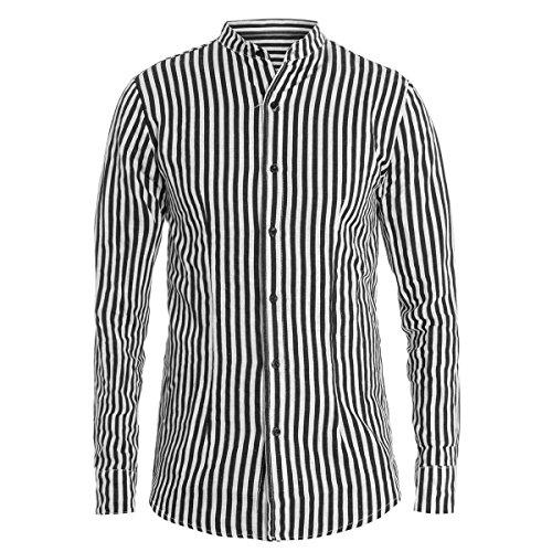 Giosal camicia uomo collo coreano righe nera bianca rigato manica lunga c1410a-nero-xl