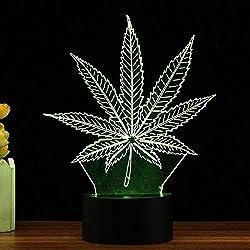 3D Nachtlicht Mit Fernbedienung 3D Visual Cannabis Leaf Marihuana Led-Lampe_7 Farbwechsel.