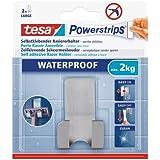 tesa Powerstrips Rasiererhalter / Selbstklebende Halterung für Rasierer / Wasserfest und rostfrei / Rückstandslos entfernbar und versetzbar / Bis 2 kg / 1 Stück