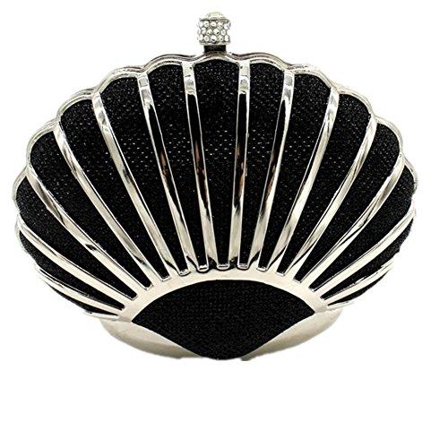 Shiratori Mini Seashell Geldbeutel für Frauen Clutch Handtaschen für Mädchen,Schwarz (Coach Geldbörse Schwarz Silber)