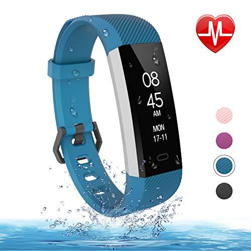 fitpolo Fitness Armband mit Pulsmesser wasserdichte IP67 Aktivität Tracker Fitness Uhr Smart Watch Pulsuhr Schrittzähler Uhr für Frauen Männer (Blau) -