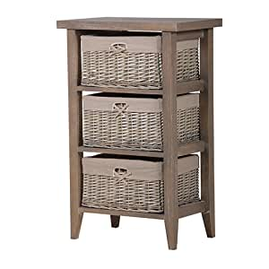 Tall grey wood 3 drawer wicker basket bathroom bedroom for Bathroom cabinet with baskets