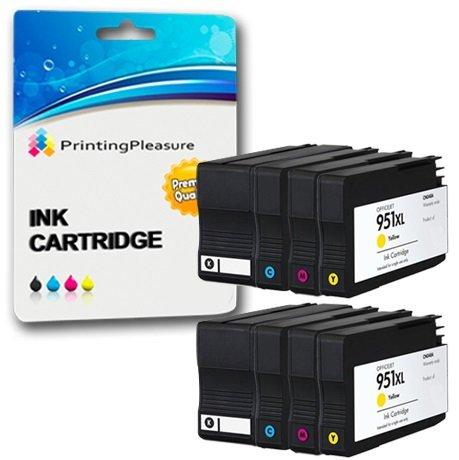 Printing Pleasure 8 Tintenpatronen kompatibel zu HP 950XL HP 951XL für HP Officejet Pro 8600 8610 8620 8630 8640 8100 8110 8625 8615 8660 251dw 276dw - Schwarz/Cyan/Magenta/Gelb, hohe Kapazität