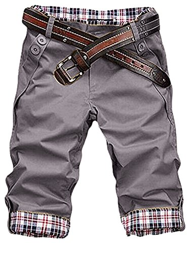Grau Kariert Shorts (HEMOON Herren Bermudas Shorts Vintag Kurze Hose Kariert 1/2 Grau W32)