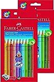 Doppelpack Faber-Castell 110912 Buntstifte Jumbo Grip (inklusive Spitzer) 12er Kartonetui