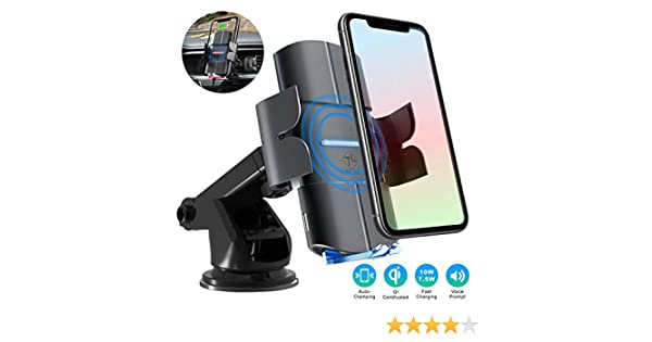 TILON Voice Prompts Wireless Car Charger Samsung S10-S8 10W Qi Fasting Charging Auto-Clamping 3 in 1 Car Mount Windshield Dashboard Air Vent Phone Holder for iPhone 11-Pro Max X-Xs Max 8//8+